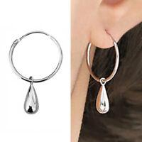 Solid 925 Sterling Silver 20mm Hinged Hoop Circle Sleeper Dot Drop Earrings Pair