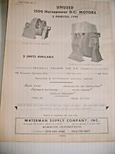 1960s-70s  WATERMAN SUPPLY CO. BOILERS, STEAM HOISTS & OTHER  EQUIPMENT