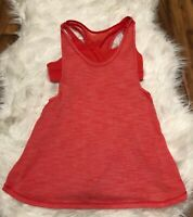 Lululemon Tank Top shirt built in bra striped Orange Womens Size 4 ~ X6