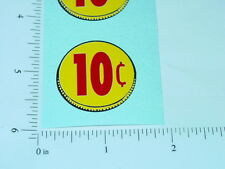 Three (3) Generic 10 Cent Coin Vend Stickers    V-16-10