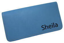New MTL Personalized Name or Monogram Leather Checkbook Cover USA Made Baby Blue