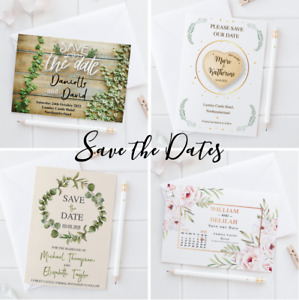 Personalised Wedding Save the Date Cards Vintage Rustic with Envelopes