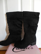 NIB Candies Women Cabennigan Black Faux Suede Tall Boots Size 7M Extended Calf