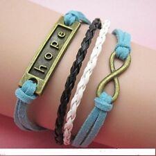 (B15) Vintage handgemaakte Infinity 8 hoop lederen armband armband