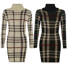 NEW WOMEN LONG SLEEVE HIGH NECK KNITTED TARTAN CHECK BODYCON TUNIC DRESS, CLS