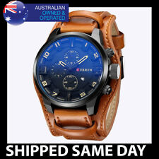 225 LEATHER CURREN MENS ANALOG WATCH Waterproof Water Resistant Gold Miltary 104