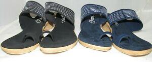 New! Ladies Onex Black or Navy Blue Wedge Sandal Silver Studs US 8,9,10,11