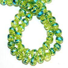 "G1484L Yellow 8mm Round Crackle Glass Drawbench Metallic Swirl Beads 32"""