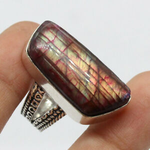 Red Flash Labradorite 925 Silver Plated Handmade  Ring US Size 7.5 Ethnic Gift