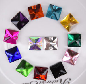 100 pcs Sew On Crystal Flat back Square Faceted Color Glass Rhinestone Jewels