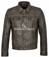 Mens Truckers Classic Leather Jacket Dirty Brown Collared Casual Denim Look 1280
