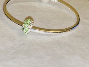 MADEENA LONDON PERIDOT STONES MURANO CHARM WITH LUXURY VELVET GIFT POUCH
