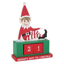 Wooden Advent Calendar Countdown Elf Home Decoration Christmas Xmas Family Shelf