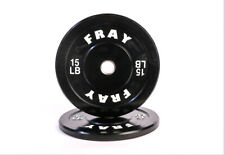 Fray Fitness Barbell Plates Pair 15 LB Rubber Bumper Plates Brand New In The Box