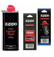1x Original Zippo Lighter Fuel Fluid Petrol + 1x Wick & 6x Flints 1 Pack UK SELL