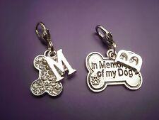1 In Memory of my dog bone or Rhinestone bone both with initial clip on charm