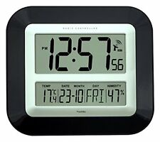 Jumbo LCD Radio Controlled Wall Clock with Temperature and Humidity display (New