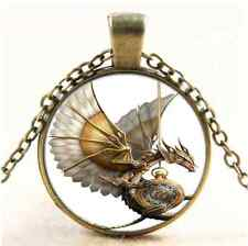 Vintage Steampunk Dragon Photo Cabochon Glass Bronze Pendant  Necklace