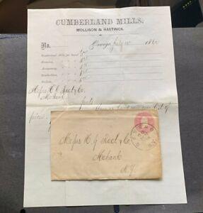 1862 OSWEGO NY U34 PSE COVER+BILLHEAD AD LETTER CUMBERLAND MILLS ! CIVIL WAR ERA