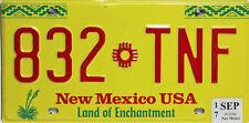 New Mexico  License Plate,  Original Nummernschild USA  832 TNF  ORIGINALBILD
