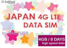 JAPAN SIM KARTE 8 TAGE 4GB 4G 3G UNBEGRENZT DATA PREPAID SIM VON SOFTBANK AIS