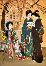 Vintage ORIENTAL ART PRINT - Asian Japanese Geisha Kimono Advertisement Poster