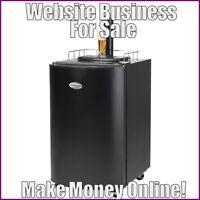 Fully Stocked BEER KEG REFRIGERATOR Website Business|FREE Domain|Hosting|Traffic