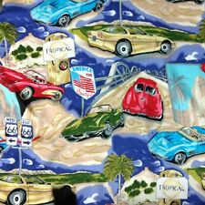 ISLAND COLLECTION Mens Hawaiian Shirt America the Beautiful Corvettes Route 66 M