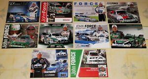 """""""TEN"""" DIFFERENT """"JOHN FORCE"""" TOP FUEL FUNNY CAR DRAG RACING HANDOUTS IN VG COND!"""