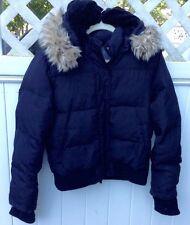 Black Short Women's Down Jacket - Lady Foot Locker Sz Med. Hooded Winter Jacket