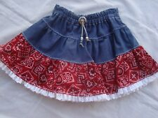 Western Twirl Skirt Size 2 DENIM With Red Bandana Handmade USA  Brand NEW