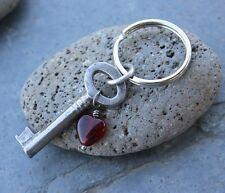 Key to my heart keychain - vintage key & glass heart - anniversary - handmade