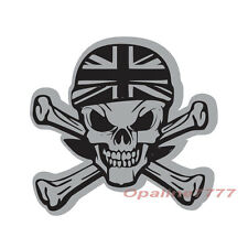STICKER REFLECHISSANT TETE DE MORT SKULL PIRATE CASQUE UNION JACK MOTO SCOOTER
