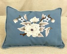 More details for vintage crewel work cushion pillow hand sewn light blue cream beige brown flower