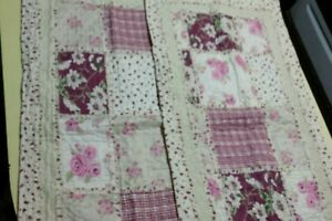 """LIL' DOLLYS  Patchwork Quilted Pillow Shams Set 20""""x36"""" NEW"""