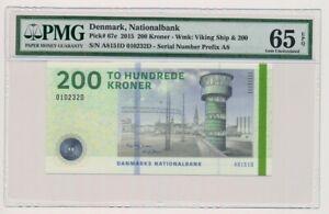 DENMARK banknote 200 Kroner 2015 Jensen sign. PMG grade MS-65 EPQ Gem UNC