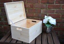 Large Plain Pine Wood Storage Keepsake Wooden Souvenirs Box Lid Toys 40x30x24
