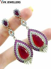 Silver Handmade Ruby Earrings E2111 Hurrem sultan Turkish Jewelry 925Sterling