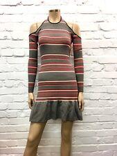C'Meo Collective Stunning Striped Cold Shoulder Cocktail Dress UK 8