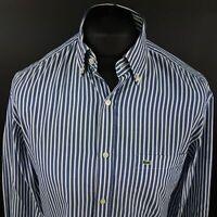 Lacoste Mens Vintage Shirt 39 (MEDIUM) Long Sleeve Blue Regular Fit Striped