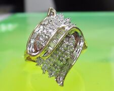 AB5 GORGEOUS Real 10K Yellow GOLD RING 0.41tcw DIAMOND CLUSTER COCKTAIL size 7.5