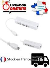 CABLE ADAPTATEUR CONVERTISSEUR MICRO USB / RJ45 HUB LAN / 3 PORTS USB 2.0