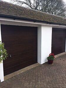 DESIGNER SECTIONAL GARAGE DOOR ROSEWOOD DARK OAK GOLDEN OAK INSULATED NOT ROLLER