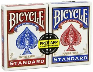 Bicycle Playing Cards Single Pack Standard Index Poker  - 1 Pack - Red or Blue