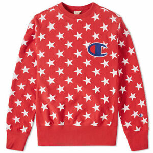 Red Champion Crew Neck Stars Sweatshirt