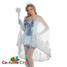 Womens Ladies Ice Princess Fairy Shimmer Cape Fancy Dress Christmas Accessory
