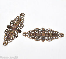 50 Copper Tone Filigree Flower Wraps Connectors