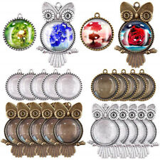 48pcs/set Owl Pendant Trays with Glass Cabochon Base DIY Jewelry Making NewATAU
