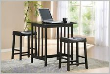 Home Bar Pub Set Dining Furniture Bistro Counter Table Padded Stools 3 Pc Wood