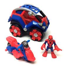 MARVEL COMICS SUPERHERO SQUAD Spiderman toy figure with jeep & bike vehicle set